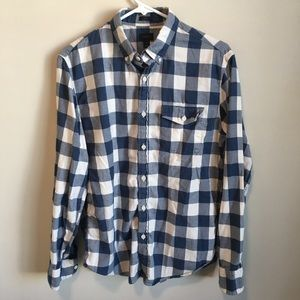 J.Crew Blue Gingham Flannel Button Down Shirt M